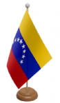 Venezuela Desk / Table Flag with wooden stand and base